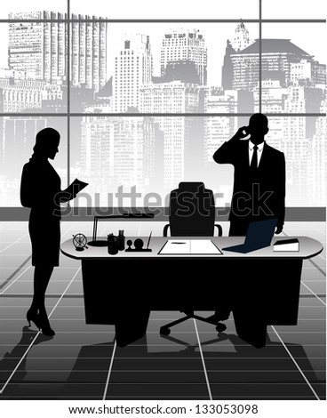 work at office - stock vector