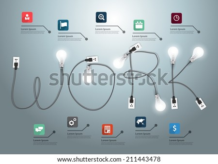 Work concept with creative light bulb ideas, With business flat icons set abstract info graphic banner workflow layout, diagram, step up options, Vector illustration modern design template  - stock vector