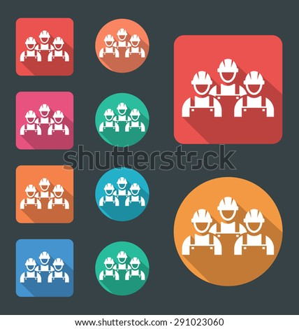 Work crew icon, vector flat icon, round corners icons with different color variation. - stock vector