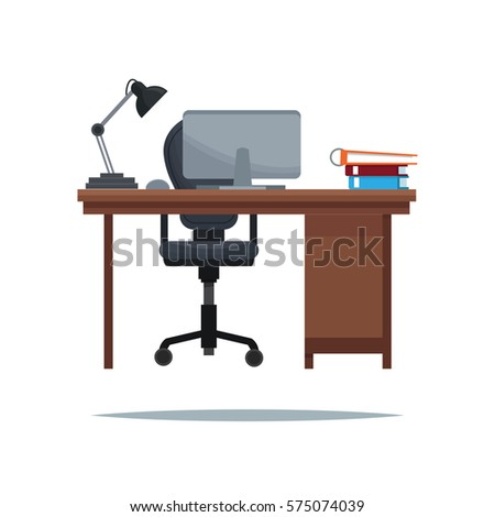 work desk armchair laptop lamp book stock vector 575074039