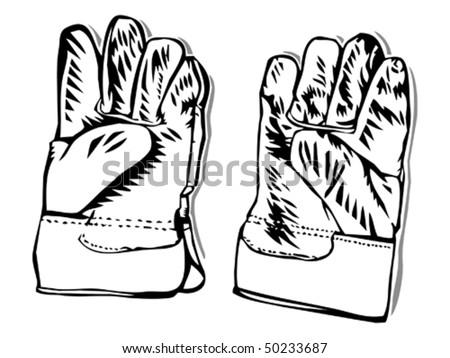 work gloves - stock vector