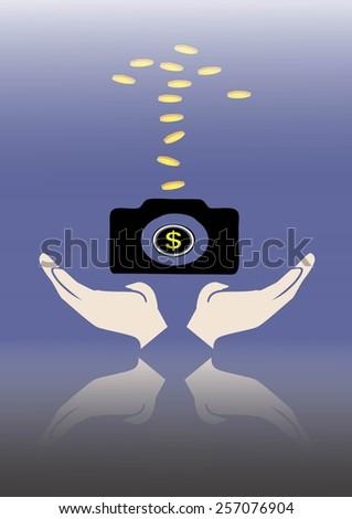 work hard for money concept. make more money form shutter,camera. - stock vector