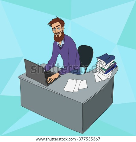 Work in office: project Manager, designer, secretary. Cloud technologies, services, documents for remote team. Illustration of busness man in workplace with laptop. Employee in suit sitting at desktop