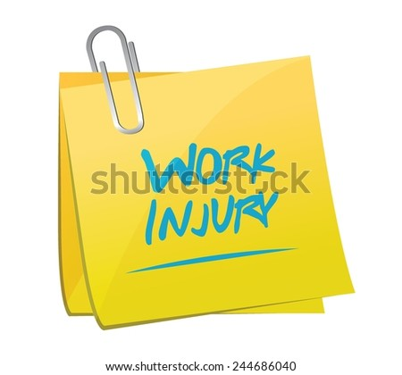 work injury memo post illustration design over a white background - stock vector