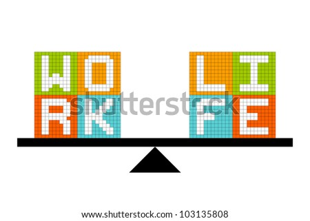 Work-Life Balance Concept In Pixel Blocks - stock vector