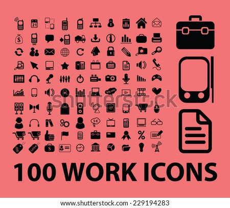 work, office icons, signs, illustrations, vectors set