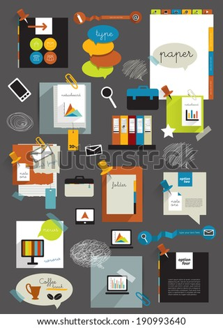 Work office web layout. Colorful flat graphic template. Folder, sticker, graph, tab, data, bubbles set. Vector background.  - stock vector
