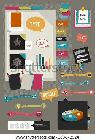 Work office web layout. Colorful graphic template. Folder, sticker, graph, tab, data, bubbles set. Vector background. - stock vector