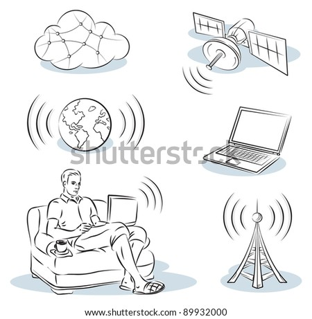 work on the Internet - stock vector