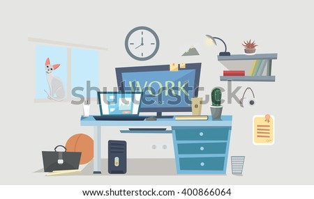 Work place. Designer work space, desk with computer, lamp, books, photo frames. Vector background. student room. Interior Design. Work place with table.cartoon style. - stock vector