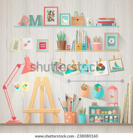 Work place of designer-illustrator and artist with drawing easel and many other artistic materials. Art-working process.  Flat design vector illustration - stock vector