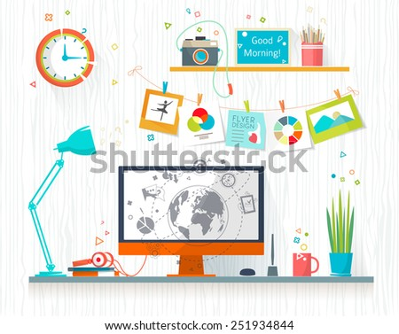 Work place of designer-illustrator. Creative office workspace. Art-working process.  Flat design vector illustration - stock vector
