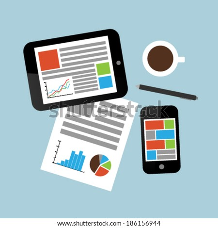 Work place with tablet pc, smart phone and office stationery   - stock vector