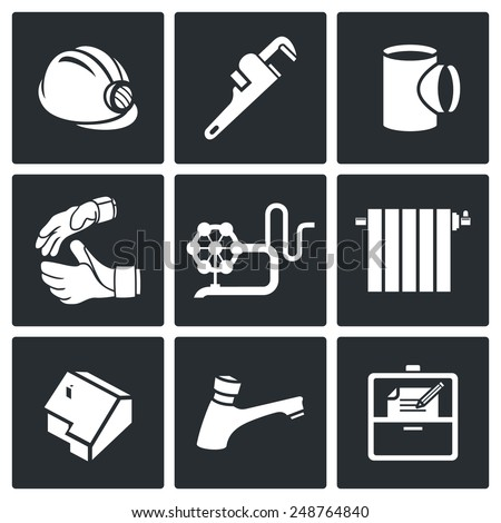 Work plumber at home Vector Icons Set - stock vector