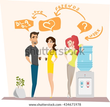 Work romance between two colleagues. Vector illustration. Characters scene. Teamwork in modern business office. - stock vector