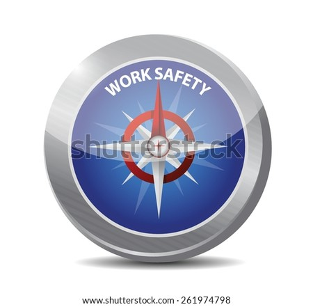work safety compass sign concept illustration design over white - stock vector