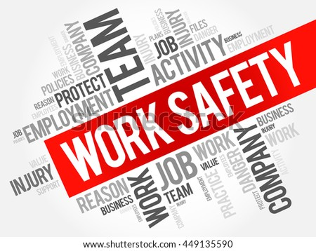 Work Safety word cloud collage with terms such as employee, company, business concept background - stock vector