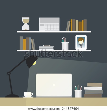 work space in night illustration - stock vector