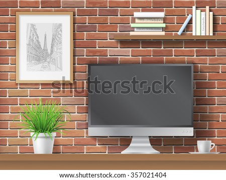 Work table, computer and shelves with books on brick wall background. Workplace in the office or at home. - stock vector