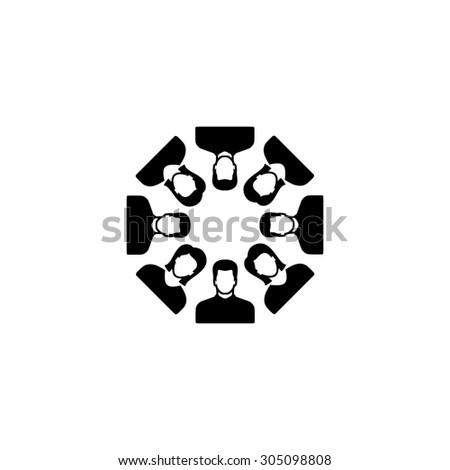 Work team concept. Black simple vector icon - stock vector