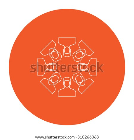 Work team concept. Flat outline white pictogram in the orange circle. Vector illustration icon - stock vector