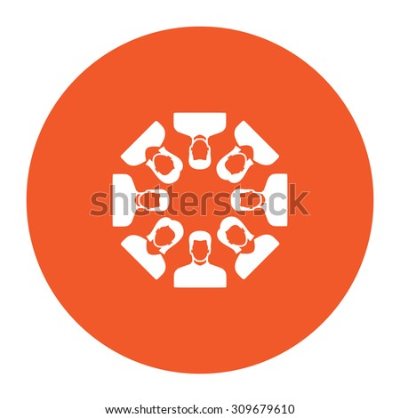 Work team concept. Flat white symbol in the orange circle. Vector illustration icon - stock vector