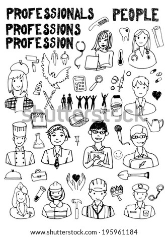 Work time doodles - stock vector