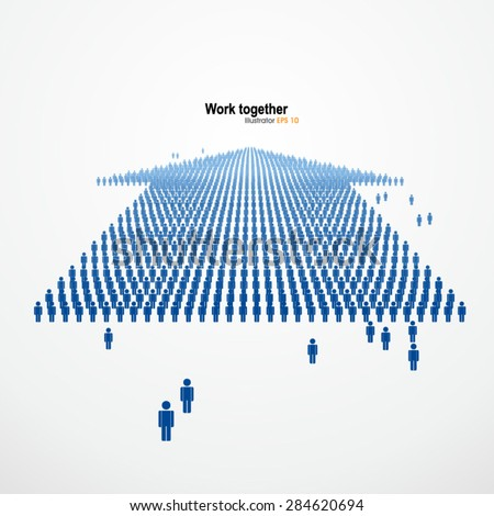 Work together,Large group of people in the form of arrows, business, and technology,Vector Graphics