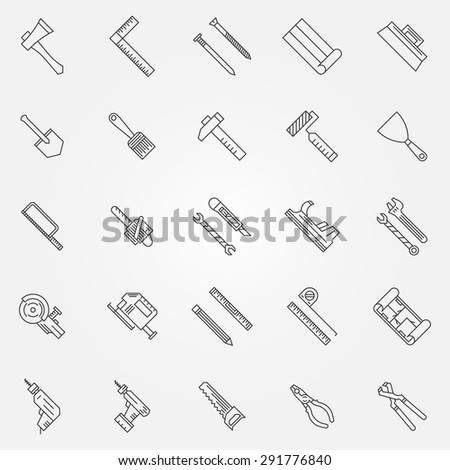 Work tools set - vector collection of construction tool outline icons or logo - stock vector