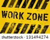 work zone sign, worn and grungy, vector scalable eps 10 - stock vector