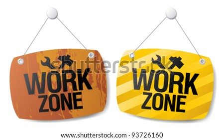 Work zone signs set. - stock vector