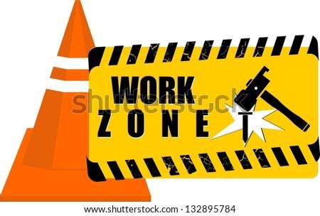 Work Zone, vector - stock vector