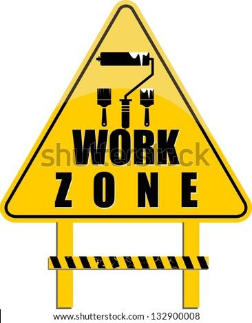 work zone vector - stock vector