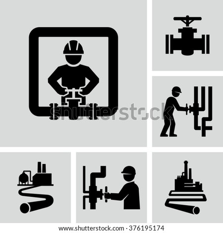 Worker and pipeline vector icons  - stock vector
