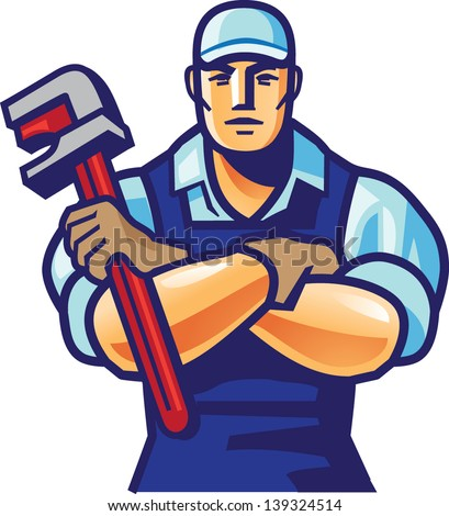 worker and wrench 1 - stock vector