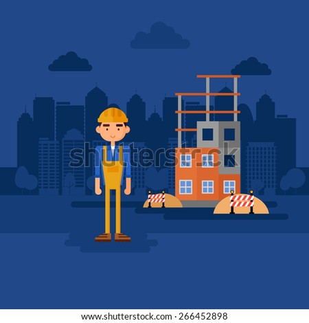 Worker at construction site. - stock vector