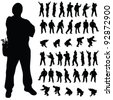 worker black silhouette in various poses art illustration - stock vector