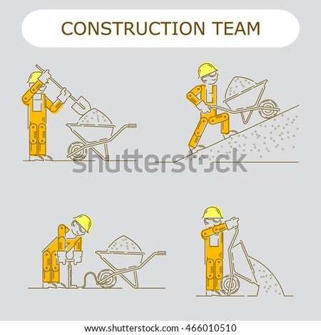 Worker Building icon. Work logo collection. Shovel, cement, gravel, materials, bucket, slope, pump, wheelbarrow, sand, concrete mixer, yellow helmet, orange overalls.  Isolated sign line vector.