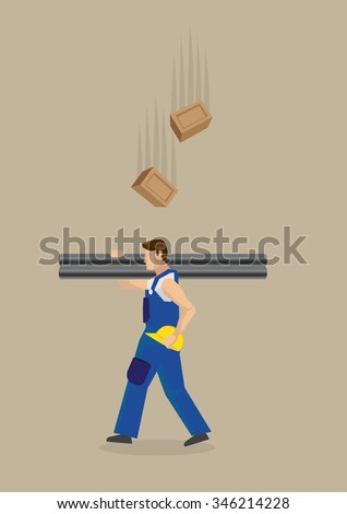Worker carrying metal poles on shoulders with yellow helmet on hand, unaware of falling bricks above him. Vector illustration on workplace hazard concept isolated on plain brown background. - stock vector