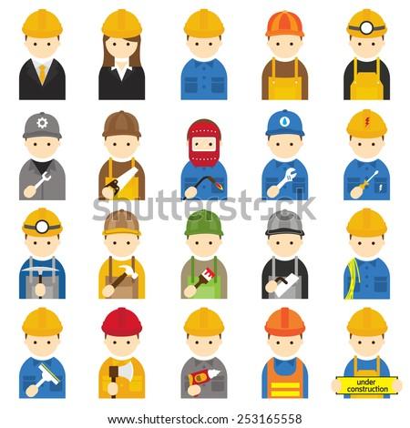 Worker, Craftsman, Symbol Icons Set - stock vector