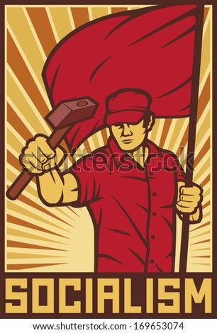 worker holding flag and hammer - industry poster (design for labor day)