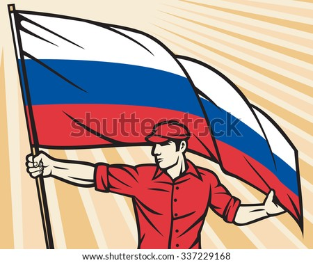 Worker holding Russian flag flag - industry poster (industry design, construction worker and flag of Russia) - stock vector