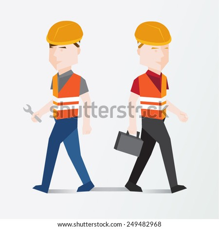 Worker Holding Tools Vector Illustration - stock vector