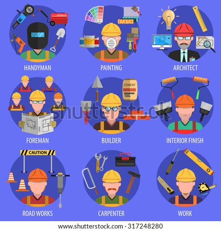Worker icons set with handyman architect and builder avatars isolated vector illustration - stock vector