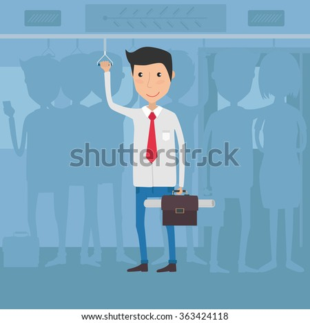 Worker in Bus going to office. Vector Illustration - stock vector