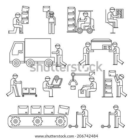 worker in production line, working people in factory, cargo and shipping workshop, line theme - stock vector