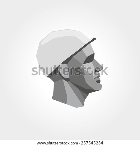 Worker man head low poly - stock vector