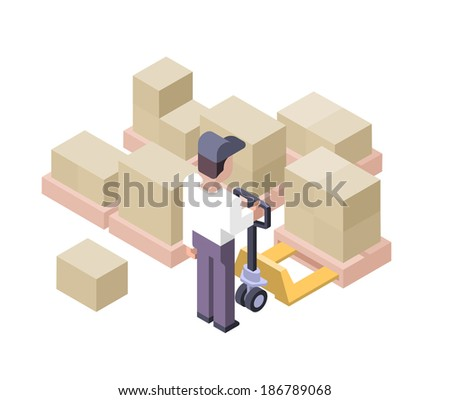 Worker moving bulky boxes with hand pallet truck - stock vector
