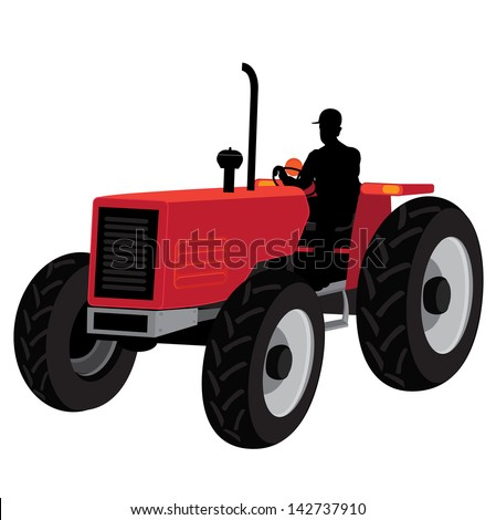 Worker on tractor