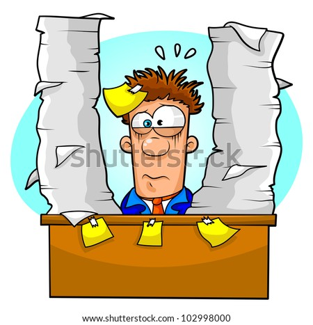worker overwhelmed by paperwork and tasks - stock vector